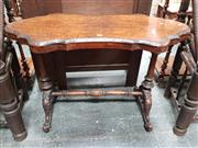 Sale 8848 - Lot 1003 - Victorian Burr Walnut Occasional Table, the shield shaped top with inlay and carved rim, on turned supports and stretcher