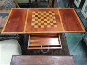 Sale 8917 - Lot 1058 - Mahogany and Satinwood Banded Card Table, with fold-over top, frieze drawer & cluster columns joined by stretchers