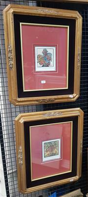 Sale 9019 - Lot 2004 - A Pair of Margaret Preston decorative prints, frame: 53 x 45 cm