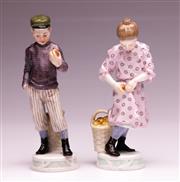 Sale 9081 - Lot 69 - Meissen Boy And Girl Ceramic Figures H: 13.5cm