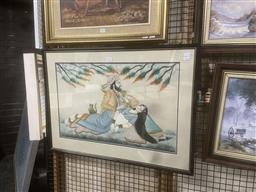 Sale 9111 - Lot 2057 - An Indo-Persian painting of Lover under a tree, frame: 55 x 75 cm