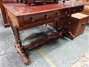 Sale 8814 - Lot 1012 - Early 19th Century Style Mahogany Sofa or Side Table, fitted with three drawers, on end supports with stretcher base