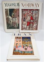 Sale 8822B - Lot 821 - 3 Volumes by The New York Graphic Society Norway Paintings from the Stave Churches, 1955;Iran Persian Miniatures Imperial Library...