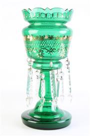 Sale 8877 - Lot 93 - Handpainted Gilt Green Glass Drop Crystal Lustre height 37.5cm