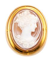Sale 8899 - Lot 358 - A 15CT GOLD SHELL CAMEO BROOCH; featuring a finely carved portrait set in a 2 row open frame, wt. 9.4g, size 37.6 x 30mm.