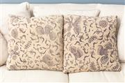 Sale 8904H - Lot 56 - A pair of chinese patterned linen cushions, 50cm x 50cm