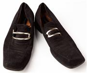 Sale 9080F - Lot 88 - A PAIR OF CASARE PACIOTTI SUARE TOE MENS SLIP ONS; in black suede in black Size 8.5