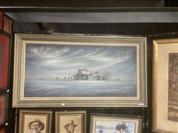 Sale 9111 - Lot 2035 - Bob Tindall Last Chance Hotel oil on board, frame: 66 x 122 cm,