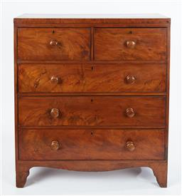 Sale 9123J - Lot 18 - An antique English mahogany 5 drawer chest C: 1840. The top sides edge banded. The 5 deep drawers fitted with original knob handles,...