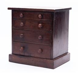 Sale 9199J - Lot 76 - A timber collectors chest of four graduating drawers, the majority of drawers with segmented interiors, Height 32cm x Width 31 x Dep...