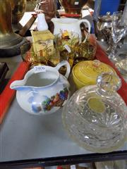 Sale 8381B - Lot 38 - Terracotta Teapot With Other Vintage Wares Incl Handpainted Amber Glasses