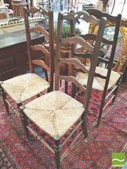 Sale 8416 - Lot 1054 - Three Provincial Beech High Ladder Back Chairs, with rush seats & turned legs
