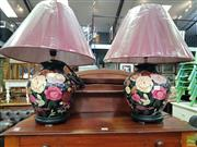 Sale 8589 - Lot 1094 - A pair of new floral themed lamps