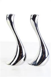 Sale 8963 - Lot 15 - Boxed pair of Georg Jensen tea light and candleholders (H20cm, medium)