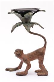 Sale 9035 - Lot 78 - Cast iron figural candle holder depicting a monkey (H20.5cm)