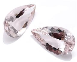 Sale 9124 - Lot 396 - A PAIR OF UNSET PEAR CUT MORGANITES; total wt. 11.40cts, sizes 17.96 x 10.47 x 6.20mm.
