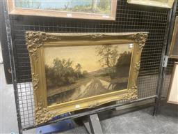 Sale 9111 - Lot 2022 - Artist Unknown Rainy Afternoon  Country Scene, oil on canvas, frame: 54 x 80 cm