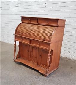 Sale 9137 - Lot 1095 - Hardwood roll top desk - missing foot (h:109 x w:100 x d:51cm)
