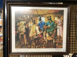Sale 9139 - Lot 2082 - Hugh Sawrey Kidman Men in the Betoota, photolithograph, frame: 51 x 58 cm, signed -