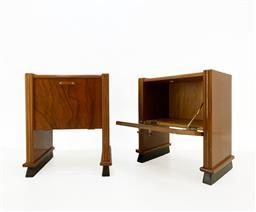 Sale 9252AD - Lot 5054 - DANISH ART DECO WALNUT BEDSIDE TABLES, 1930/1940s: pull-down door with original bakelite handles, light walnut grain with restored t...