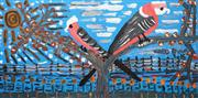 Sale 8696 - Lot 528 - Trevor (Turbo) Brown (1967 - 2017) - Galahs Hang Out in the Bush 152 x 76cm (framed and ready to hang)