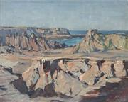 Sale 8819 - Lot 2017 - Alan Grieve (1910 - 1970) - Rocky Coastline 28 x 36cm