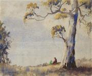 Sale 8881 - Lot 504 - Victor Robert Watt (1886 - 1970) - Afternoon Leisure by the Gum Tree 23 x 28 cm