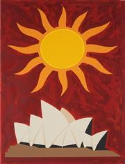 Sale 8980A - Lot 5006 - John Coburn (1925 - 2006) - Sun & Sydney Opera House, 1993 66.5 x 49.5 cm (frame: 100 x80 x 5 cm)