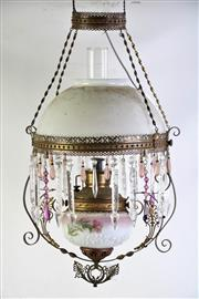 Sale 8989 - Lot 33 - A Hanging Gas Lamp With Cut Glass Spear And Pendant Drops L: 117cm