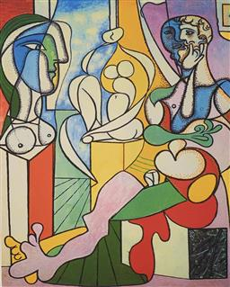 Sale 9108A - Lot 5012 - Pablo Picasso (1881 - 1973) - Artist with Sculpture 43 x 30 cm (sheet)
