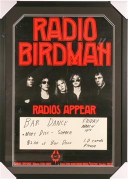 Sale 9107 - Lot 13 - Rare Original 70s Radio Birdman Radio Appear Tour gig Poster (71cm x98cm)