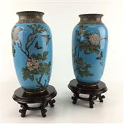 Sale 8545N - Lot 135 - Pair of C19th Cloisonne Vases on Timber Bases, 1 repaired (H: 40cm including base)