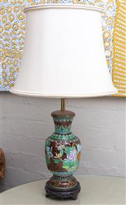 Sale 8550H - Lot 11 - A vintage Chinese cloisonné lamp, the body decorated with florals of chrysanthemum and morning glory, fitted with a cream silk shade...