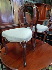 Sale 8598 - Lot 1066 - Set of Six Victorian Carved Walnut Balloon Back Chairs, with velvet seats & cabriole legs (one chair with damaged leg)
