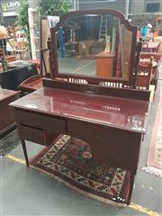 Sale 8676 - Lot 1162 - Mahogany Mirrored Back Dressing Table with Glass Top & Four Drawers