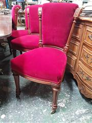 Sale 8868 - Lot 1043 - Set of 12 Late Victorian Mahogany Dining Chairs, the scrolled and columned backs upholstered in red velvet & on turned fluted legs