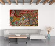 Sale 8998A - Lot 5046 - Paddy Nelson Tjupurrula (c1919 - 1990) - Yarla Jukurrpa (Bush Potato Dreaming) 128 x 223 cm (stretched and ready to hang)