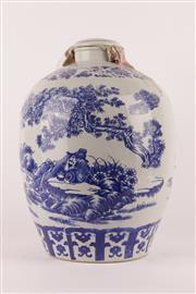 Sale 9010D - Lot 710 - Large Blue & White Lidded Water Vessel with (H: 50cm)