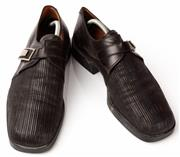 Sale 9080F - Lot 89 - A PAIR OF CESARE PACIOTTI SQUARE TOE DRESS SHOES; in black leather, with buck to side Size 8 (shoe last included)