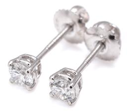 Sale 9115 - Lot 385 - A PAIR OF SOLITAIRE LAB GROWN DIAMOND STUD EARRINGS; each bead claw set in 18ct white gold with a round brilliant cut lab grown diam...
