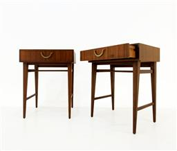 Sale 9252AD - Lot 5057 - ALPHONS LOEBENSTEIN MAHOGANY BEDSIDE TABLES FOR MEREDEW, 1950s: single drawer with brass handles (h. 54, w. 43.5, d. 30.5 cm)