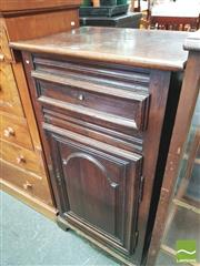 Sale 8416 - Lot 1030 - 19th Century French Walnut & Pine Small Cabinet, with single drawer & arched panel door