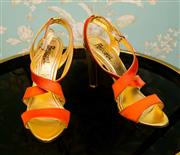 Sale 8448A - Lot 41 - Vintage Jerome Rousseau Italy gold & orange satin strappy heels Condition: very good Size: 38.5 (approx 7.5)  heel height: 11cm