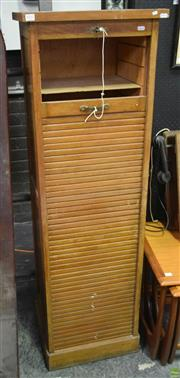 Sale 8550 - Lot 1022 - Tambour Front Filing Cabinet with Key