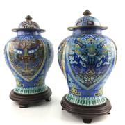 Sale 8545N - Lot 136 - Pair of Cloisonne Lidded Vases on Timber Bases. (H: 45cm including base)