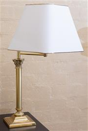 Sale 8550H - Lot 37 - A pair of brass Corinthian column lamps, the shades fitted on a cantilever arm, each total H 66cm