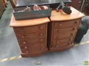 Sale 8620 - Lot 1064 - Pair of Bow Front Bedside Chests (H:67.5 W:48.5 D:40cm)