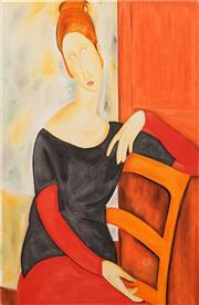 Sale 8771 - Lot 2011 - Allan Goddard (1950 - 2018) - Modiglianis Muse (After Modiglinani) 100 x 70cm