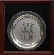 Sale 8678 - Lot 2004 - Russell Drysdale - The Stockmen, sterling silver plate, d.20cm -