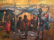 Sale 8738 - Lot 503 - William Easter - Aboriginal Family 90 x 121cm